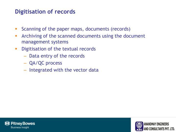 Digitisation of records
