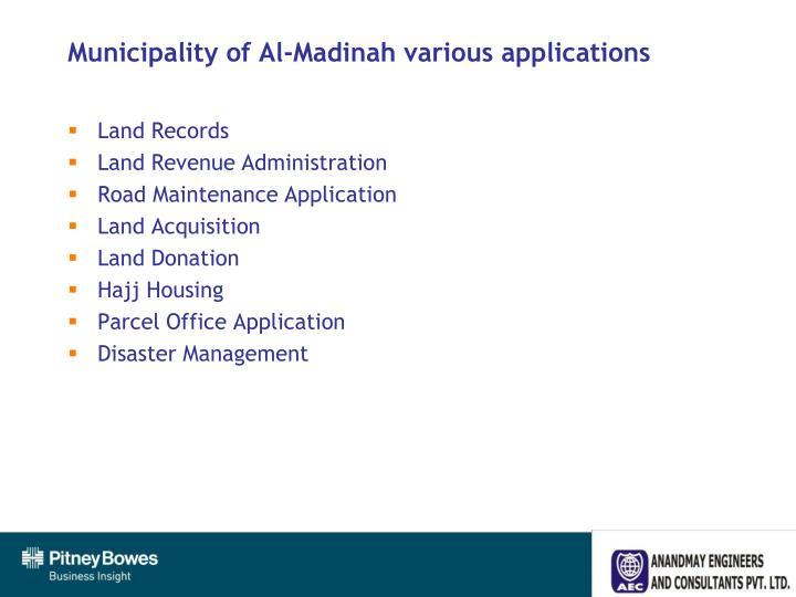 Municipality of Al-Madinah various applications