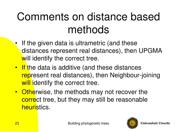 Comments on distance based methods