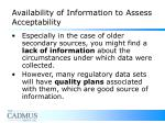 availability of information to assess acceptability