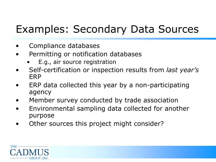 Examples: Secondary Data Sources