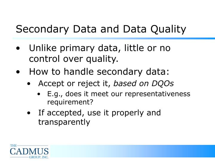 Secondary Data and Data Quality