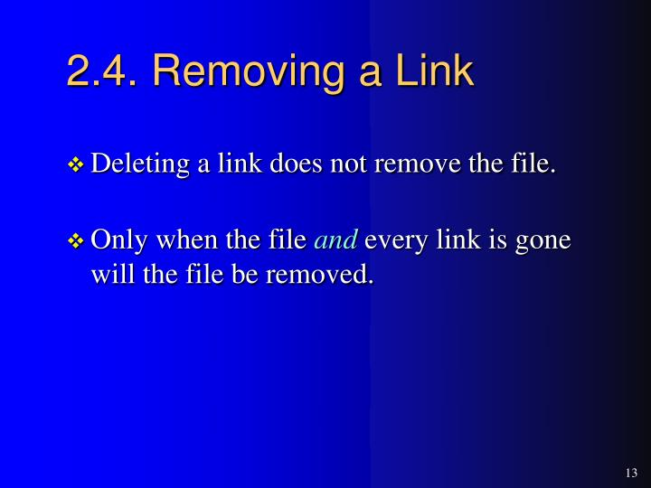 2.4. Removing a Link
