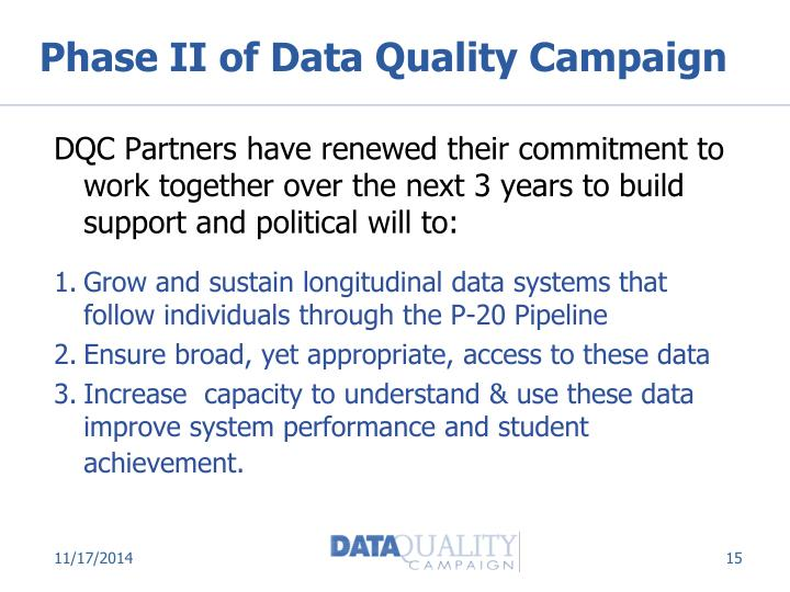 Phase II of Data Quality Campaign