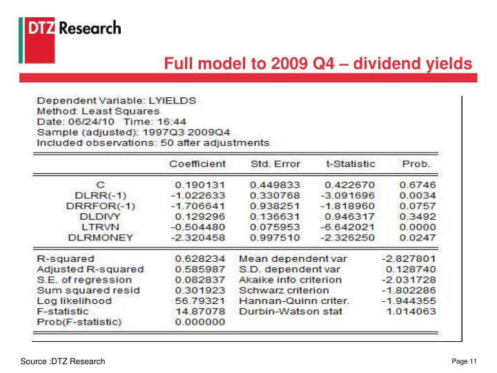 Full model to 2009 Q4 – dividend yields