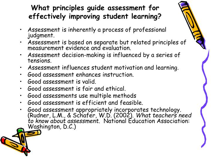 What principles guide assessment for effectively improving student learning?