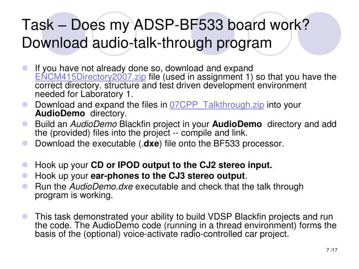 Task – Does my ADSP-BF533 board work?