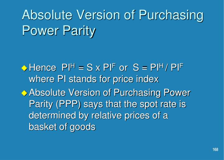 Absolute Version of Purchasing Power Parity