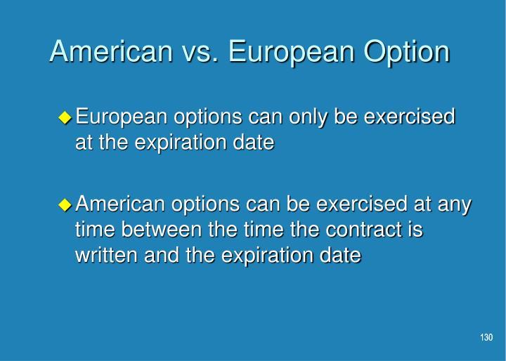 American vs. European Option