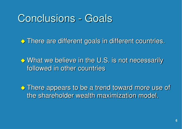 Conclusions - Goals