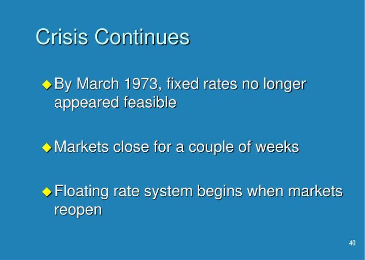 Crisis Continues