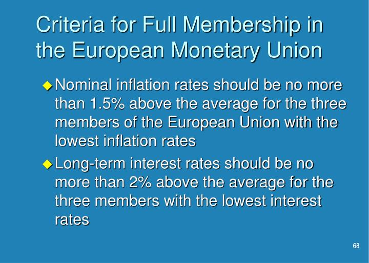 Criteria for Full Membership in the European Monetary Union