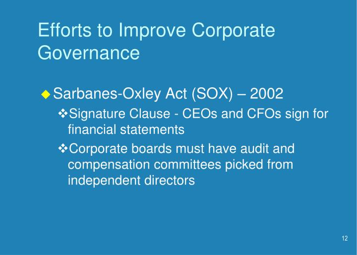 Efforts to Improve Corporate Governance