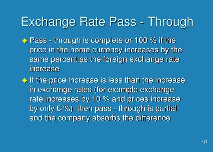 Exchange Rate Pass - Through