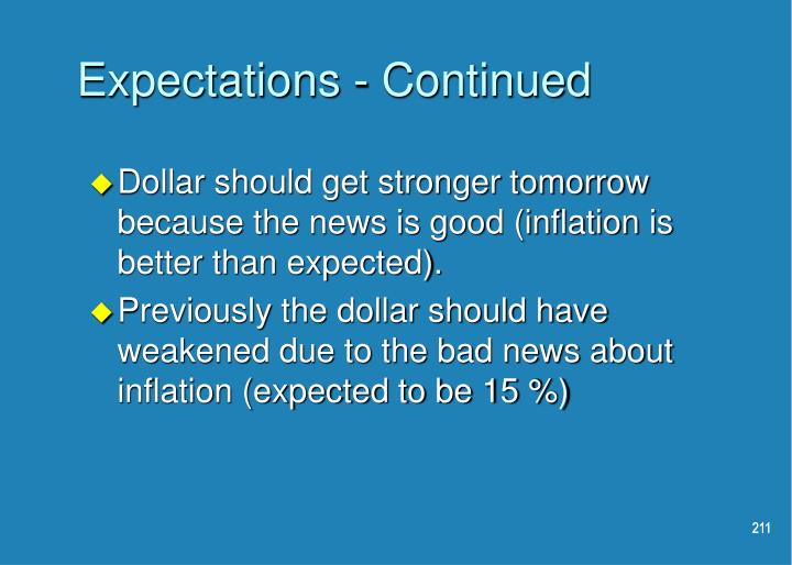 Expectations - Continued