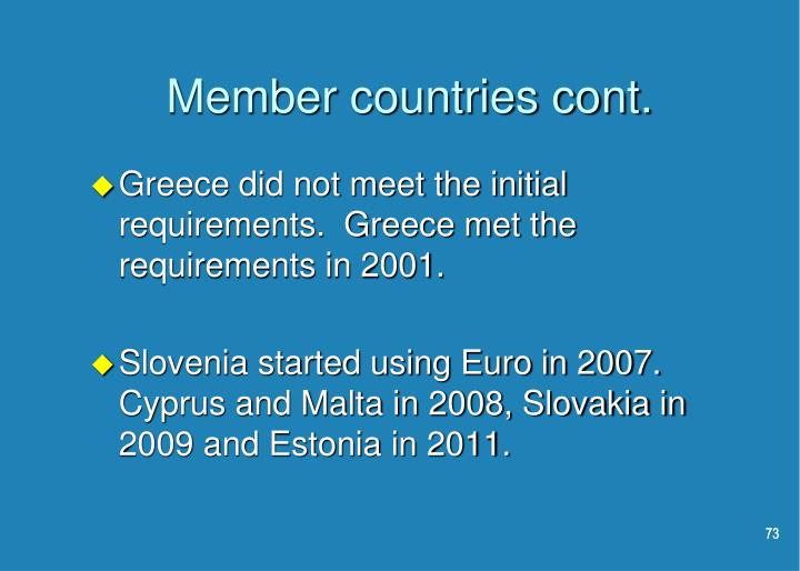 Member countries cont.