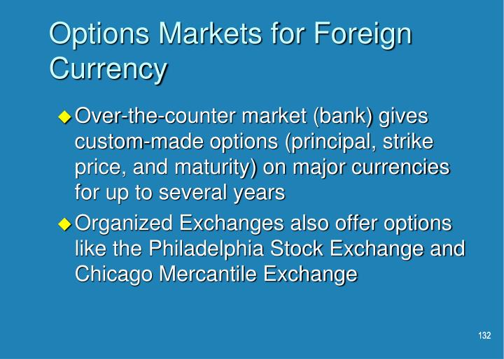 Options Markets for Foreign Currency