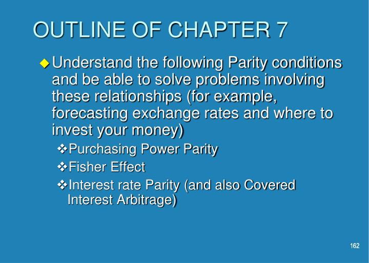 OUTLINE OF CHAPTER 7