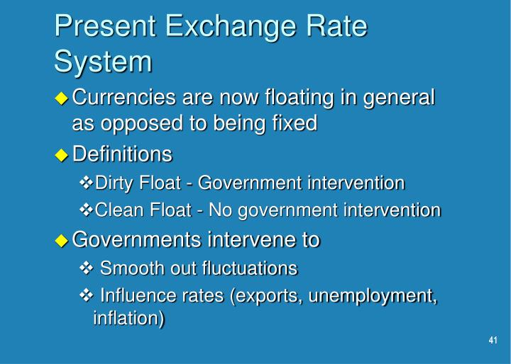 Present Exchange Rate System