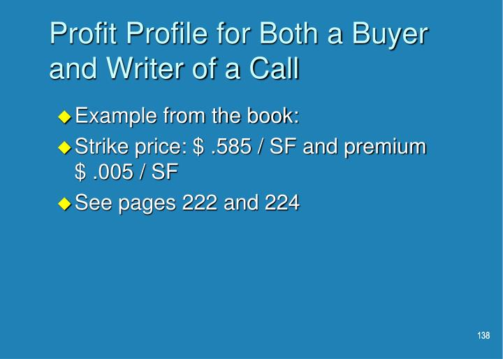 Profit Profile for Both a Buyer and Writer of a Call