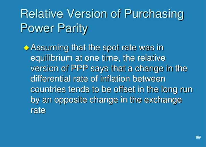 Relative Version of Purchasing Power Parity