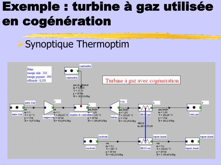Exemple : turbine à gaz utilisée en cogénération