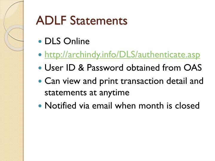 ADLF Statements