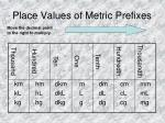 place values of metric prefixes1