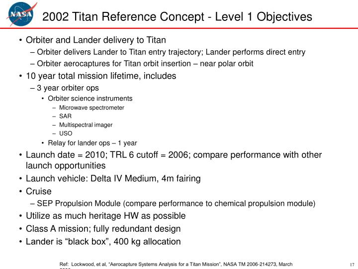 2002 Titan Reference Concept - Level 1 Objectives