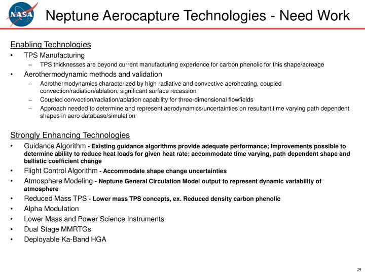 Neptune Aerocapture Technologies - Need Work