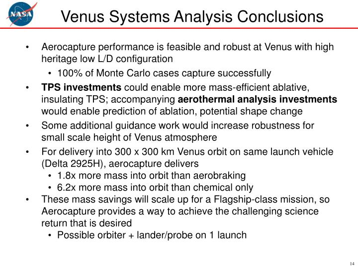 Venus Systems Analysis Conclusions