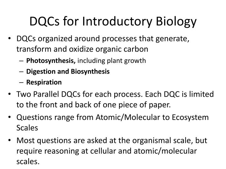 DQCs for Introductory Biology