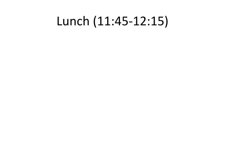 Lunch (11:45-12:15)