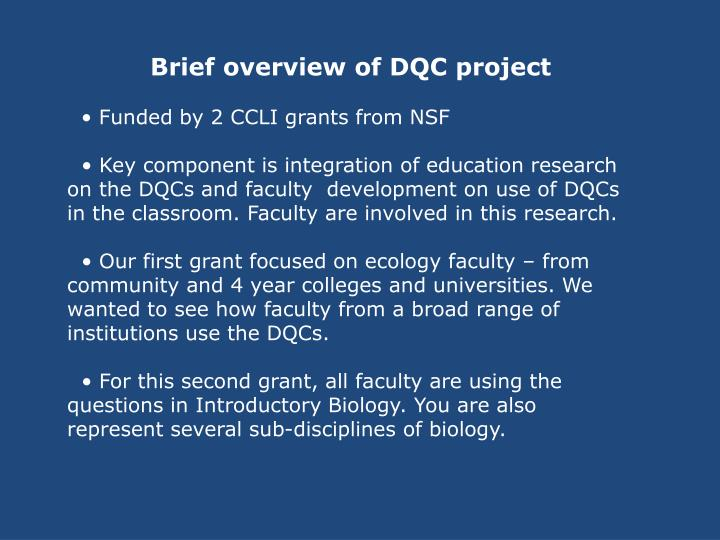 Brief overview of DQC project