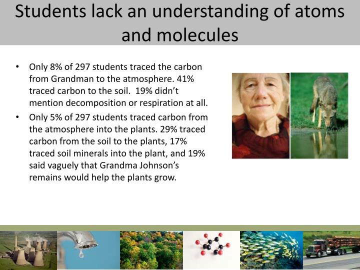 Students lack an understanding of atoms and molecules