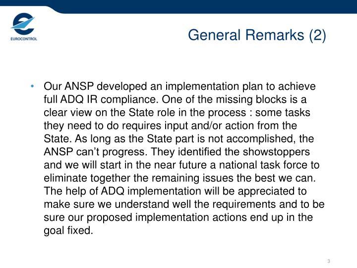 General Remarks (2)