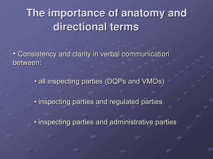 The importance of anatomy and directional terms