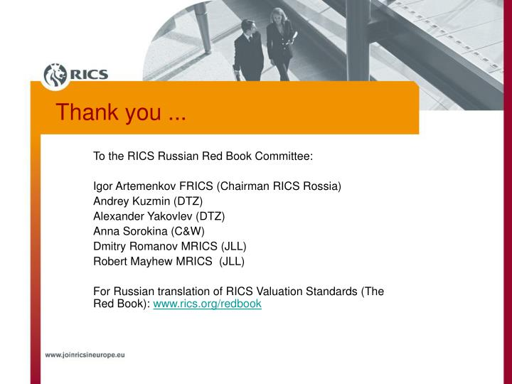 To the RICS Russian Red Book Committee: