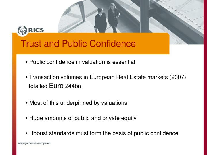 Public confidence in valuation is essential