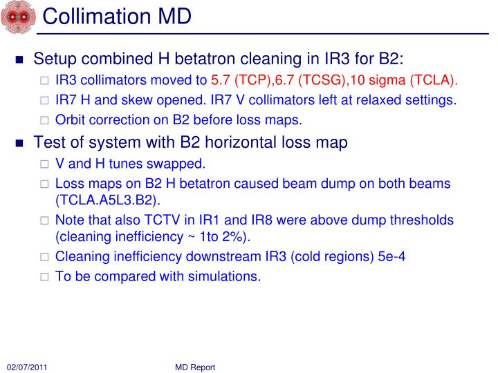 Collimation MD