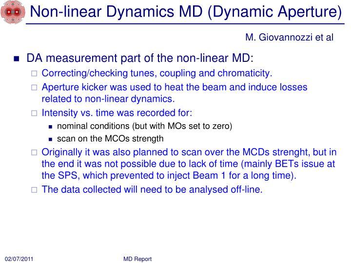 Non-linear Dynamics MD (Dynamic Aperture)