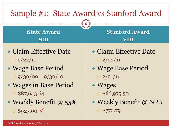 Sample #1:  State Award
