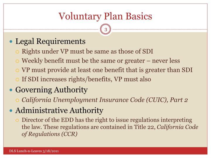 Voluntary Plan Basics