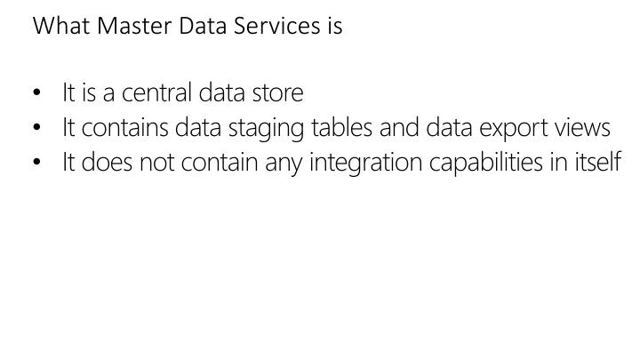 What Master Data Services is