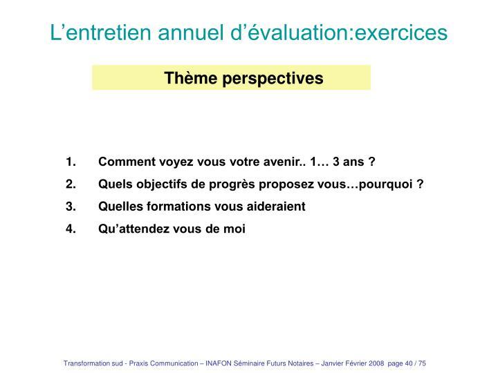 L'entretien annuel d'évaluation:exercices