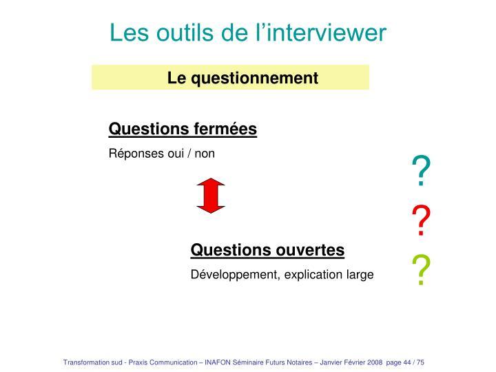Les outils de l'interviewer