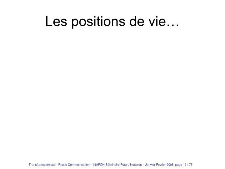 Les positions de vie…