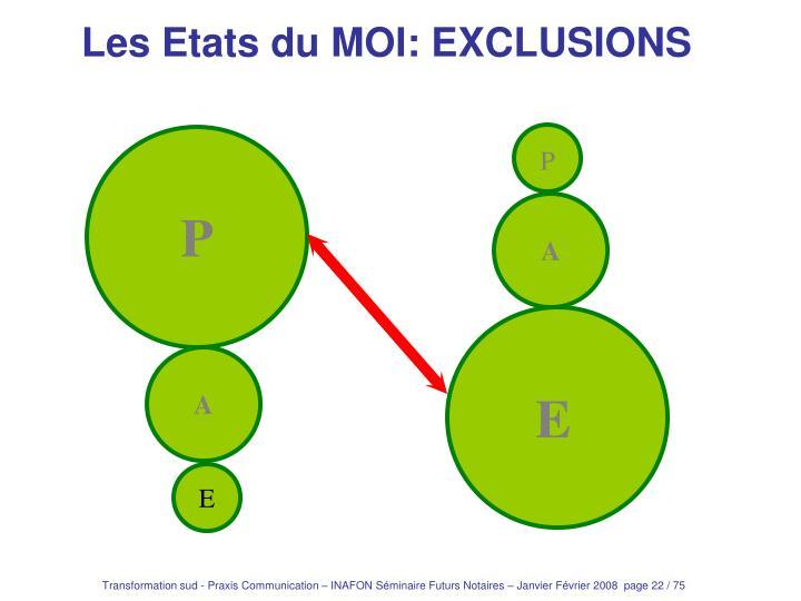 Les Etats du MOI: EXCLUSIONS