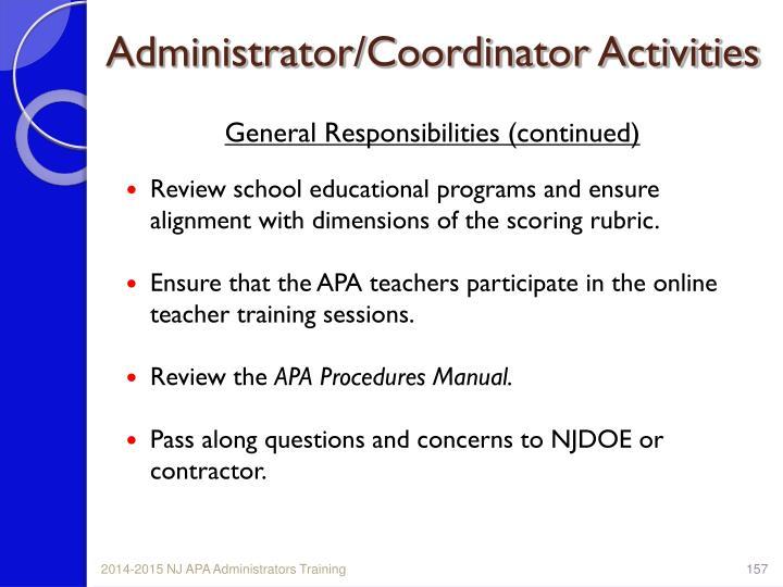 Administrator/Coordinator Activities
