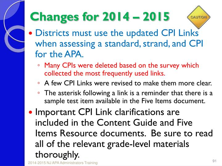 Changes for 2014 – 2015